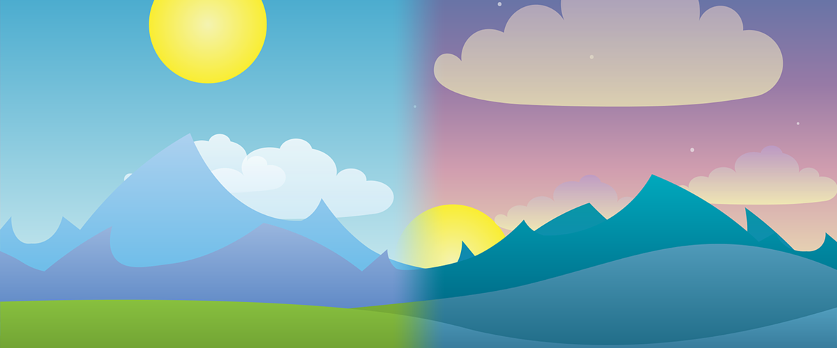 sunny landscape with mountains transitions into a starry night