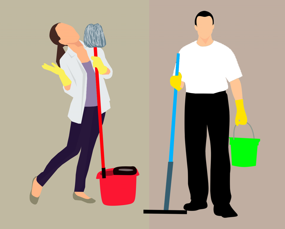 drawing of man and woman with mops in hand