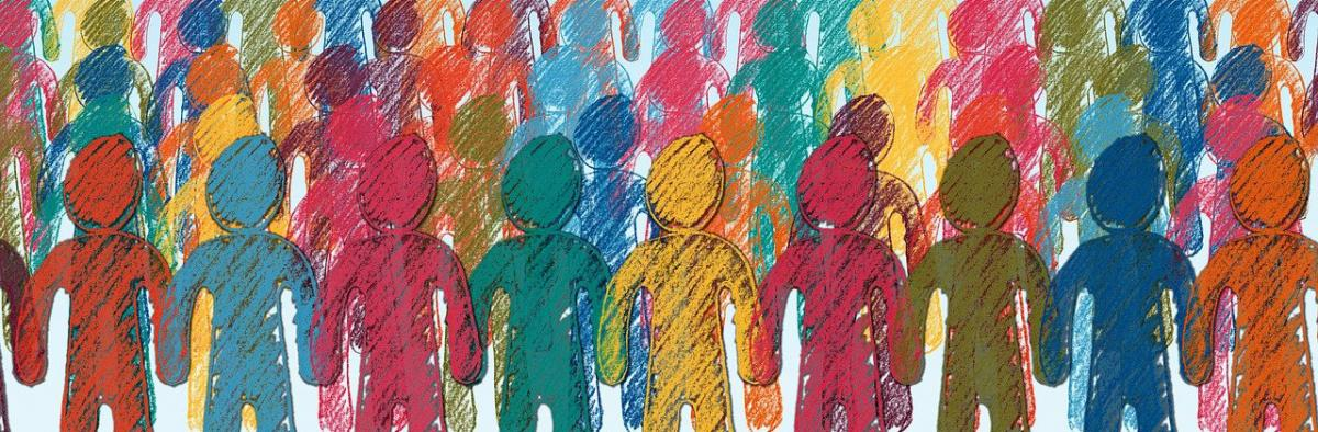 sketch of human figures in many colors