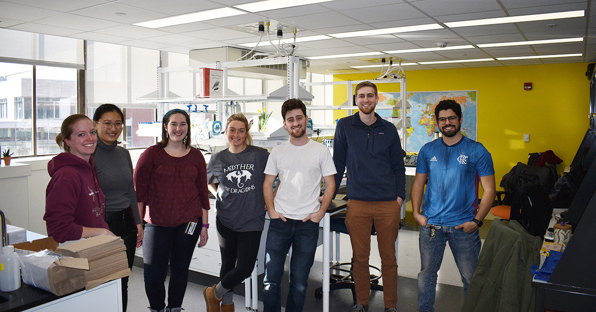 Healey Lab mates pose in new space