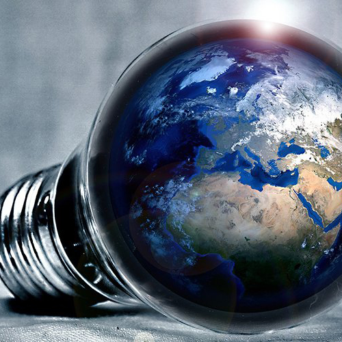 light bulb with planet earth inside