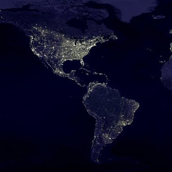 USA city lights at night from satellite map