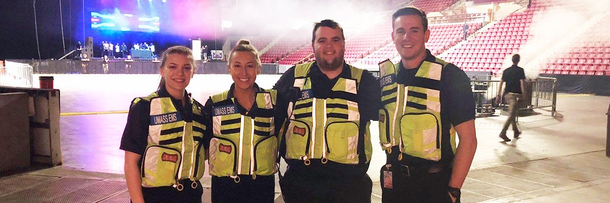 Emma with fellow EMT students in mullins center