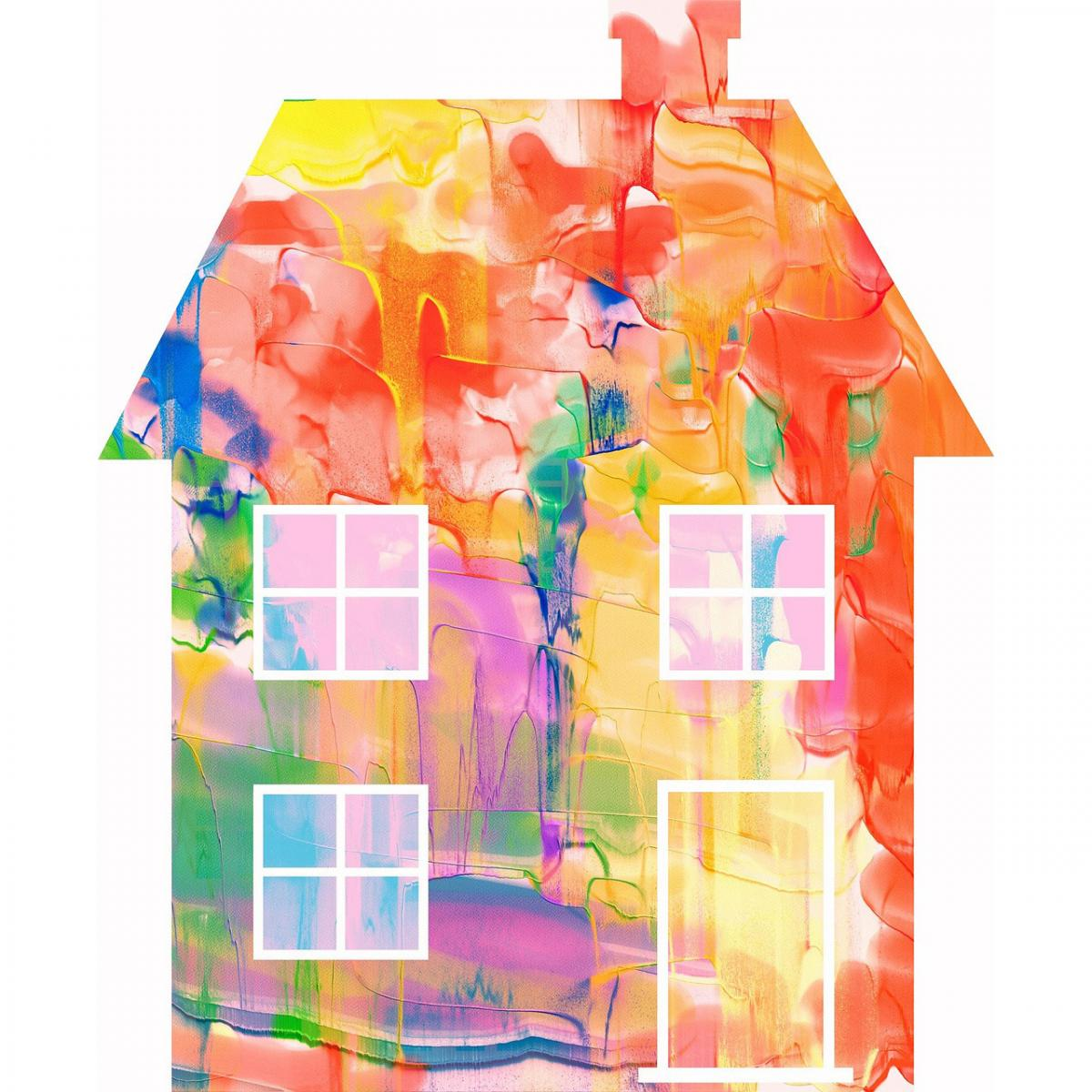 house painted with many different colors