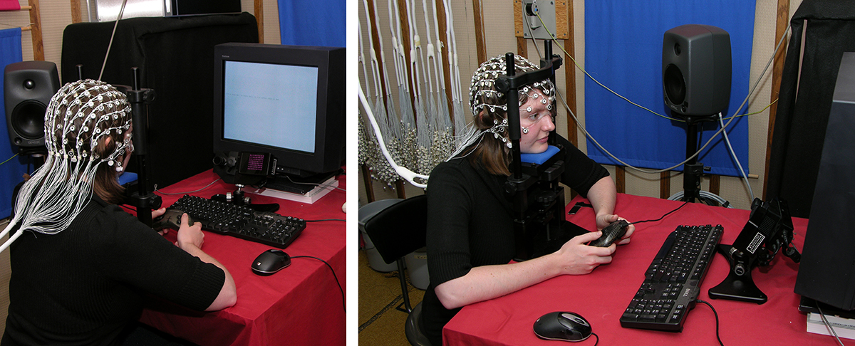 female student with eeg cap reading text on a screen