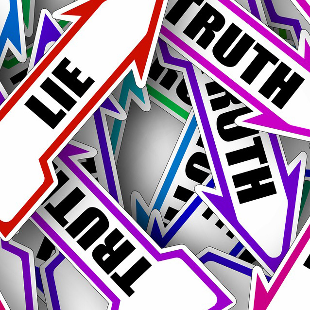 "signs that say ""lie"" and ""truth"""