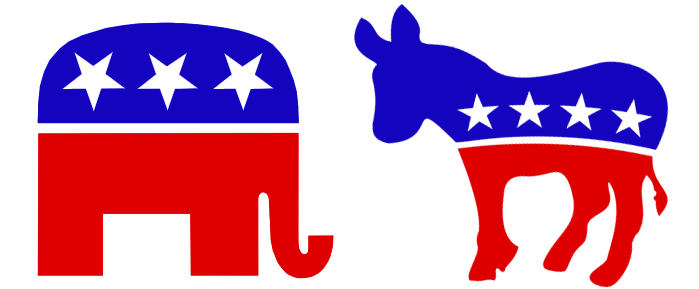 donkey and elephant as political parties