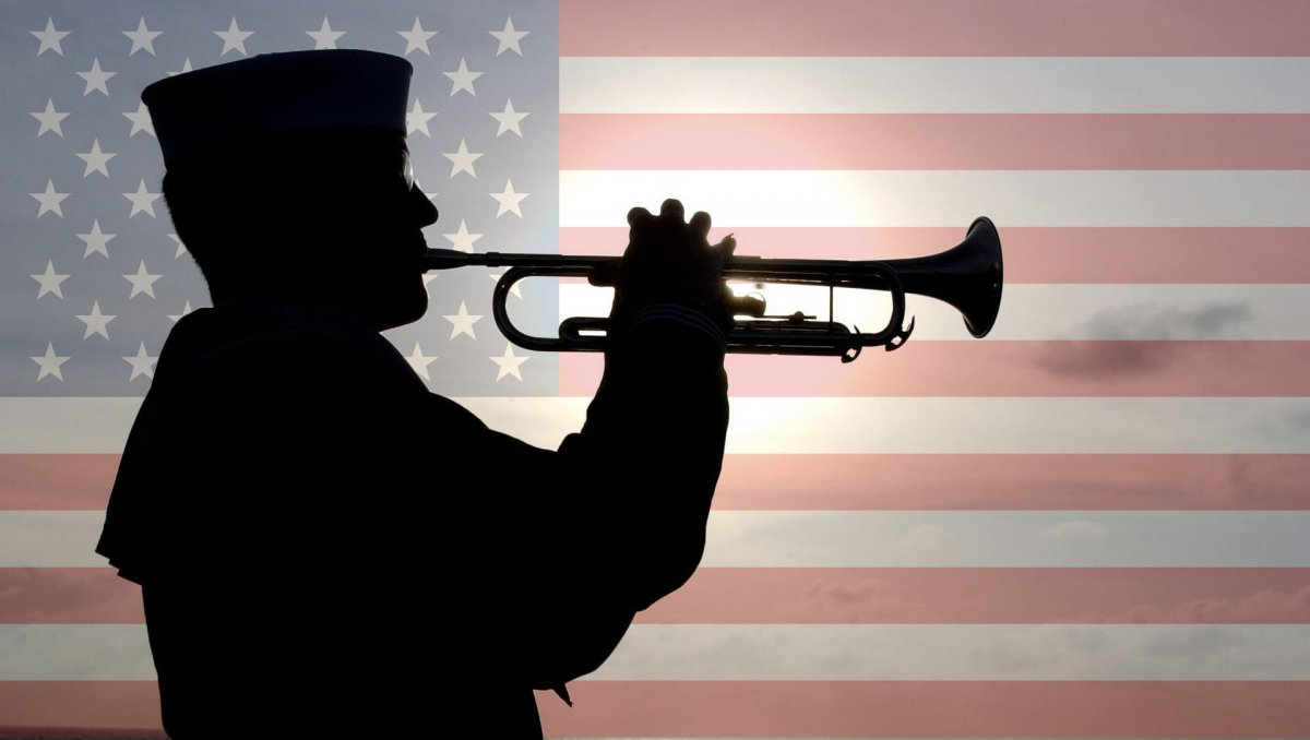 naval soldier plays trumpet