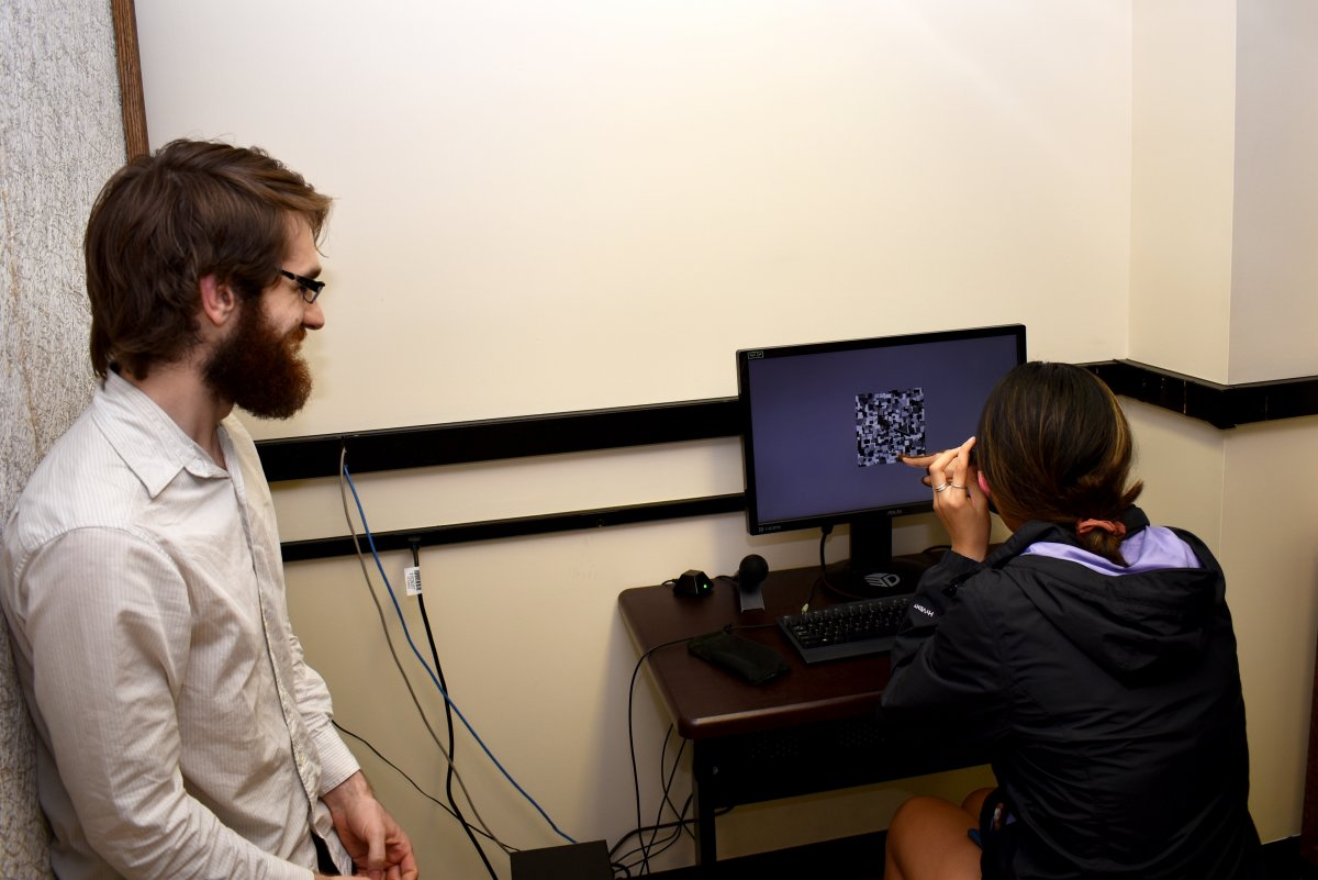 visitor with glasses looking at monitor with a composite of images