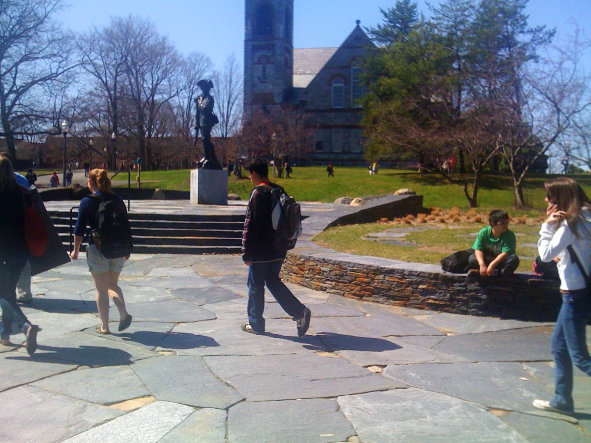 students walking at UMass