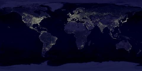 view of earth continents with city lights