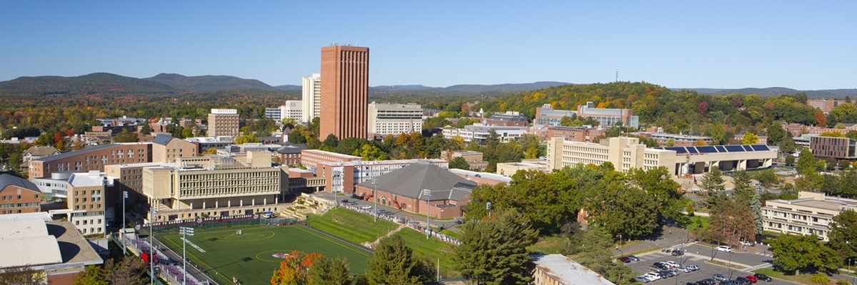 aerial view of Tobin Hall and the UMass Library in fall