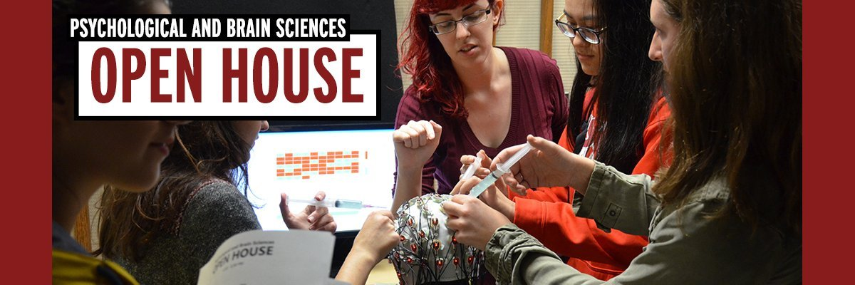 open house, students apply gel to EEG cap on subject