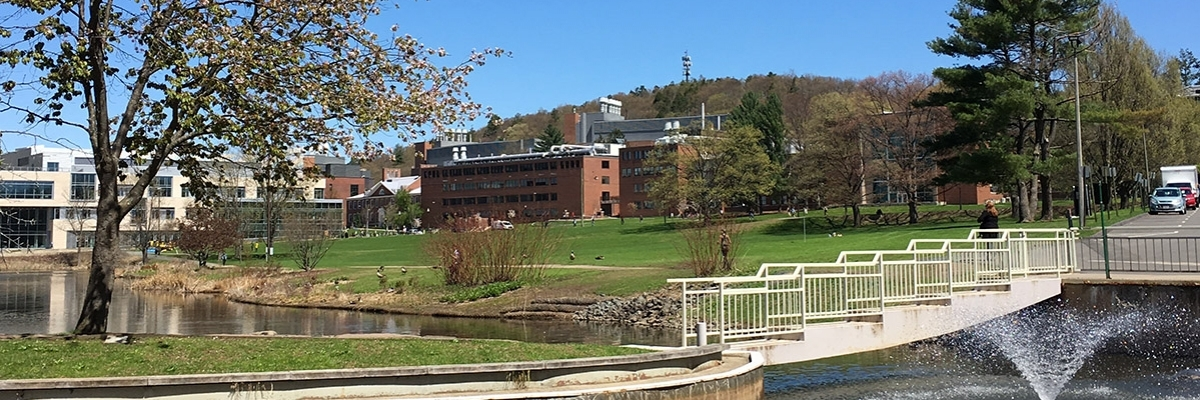 campus pond and grassy field in spring